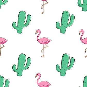 Handgezeichnetes nahtloses muster von kaktus und flamingo