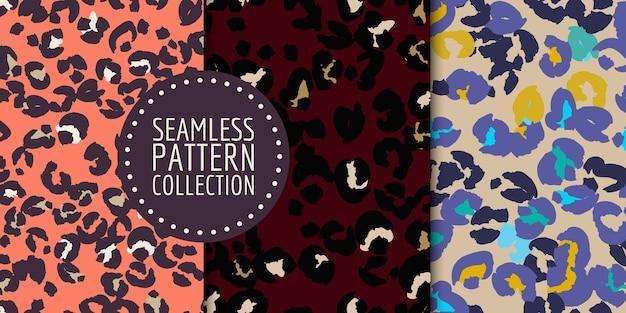 Handgezeichnetes nahtloses musterset für leopardenflecken