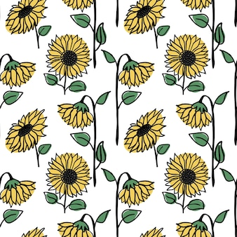 Handgezeichnetes nahtloses sonnenblumenmuster