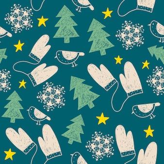 Handgezeichnetes nahtloses weihnachtsmuster. verwendung als stoff, wickelhintergrund, karte usw.