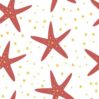 Handgezeichnetes nahtloses wiederholungsmuster mit seesternen. ideal für stoff, textil. kreative unterseeische kindliche textur. vektorkarikaturillustration des strandsommerhintergrundes.