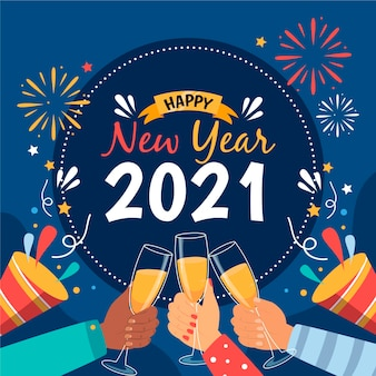 Handgezeichnetes neues jahr 2021