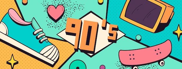 Handgezeichnetes nostalgisches 90er facebook-cover