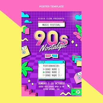 Handgezeichnetes nostalgisches musikfestivalplakat der 90er jahre