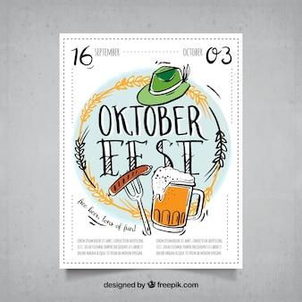 Handgezeichnetes oktoberfest poster mit traditionellen elementen