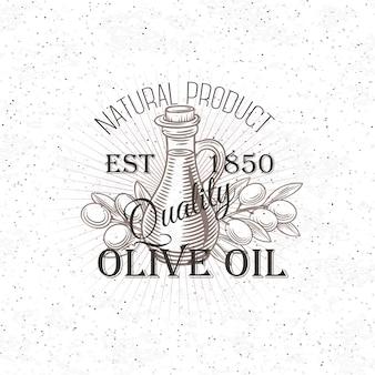 Handgezeichnetes olivenöletikett.