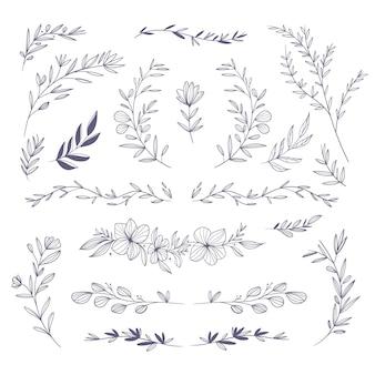 Handgezeichnetes paket mit floralen elementen