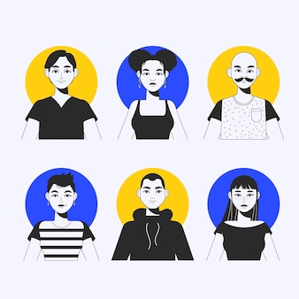 Handgezeichnetes paket mit verschiedenen profilsymbolen