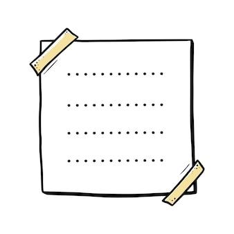 Handgezeichnetes papiermemo klebriges gekritzel