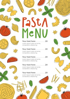 Handgezeichnetes pasta-menü kann für menü-café-restaurant-straßenfestival oder bauernmarkt verwendet werden