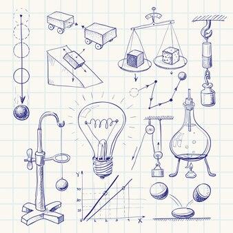 Handgezeichnetes physik-doodle