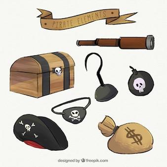 Handgezeichnetes piratenzubehör