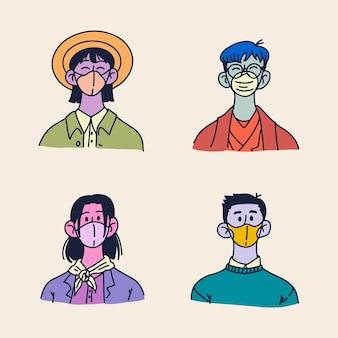 Handgezeichnetes profil-icon-set