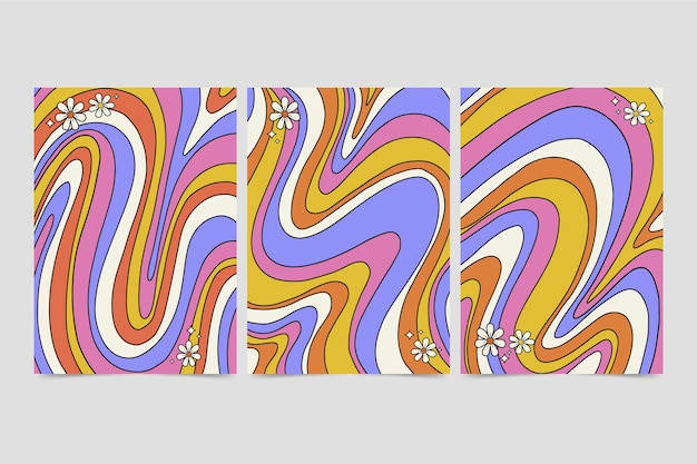 Handgezeichnetes psychedelisches cover-set