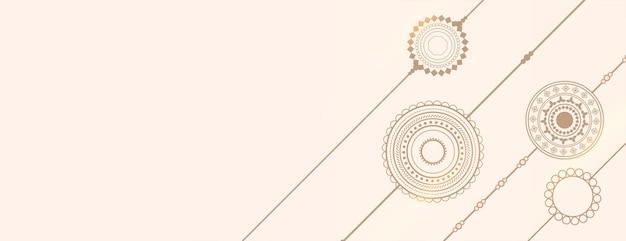 Handgezeichnetes rakhi-linien-design-banner mit textraum
