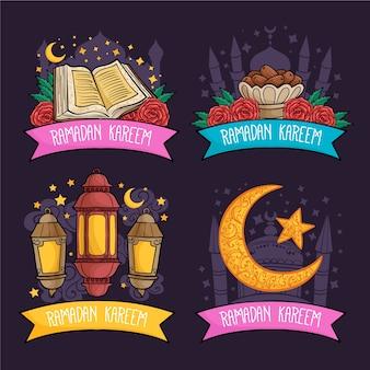 Handgezeichnetes ramadan-etiketten-sammlungskonzept