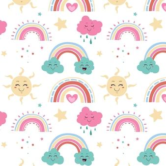 Handgezeichnetes regenbogenmuster