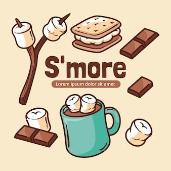 Handgezeichnetes s'mores dessert illustriert