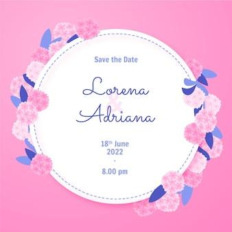 Handgezeichnetes save the date mit rosa blumen