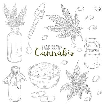 Handgezeichnetes set mit hanfblatt-cannabisölkegel und samenölflaschen-tropfkapseln