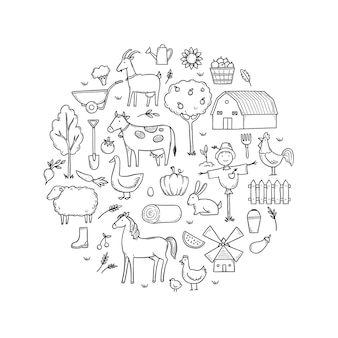 Handgezeichnetes set nutztier-bauernfutter