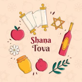 Handgezeichnetes shana tova-konzept