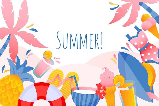 Handgezeichnetes sommerhintergrundthema