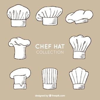 Handgezeichnetes sortiment von acht dekorativen chefhüten