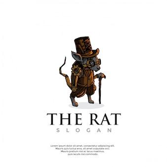 Handgezeichnetes steampunk-rattenlogo