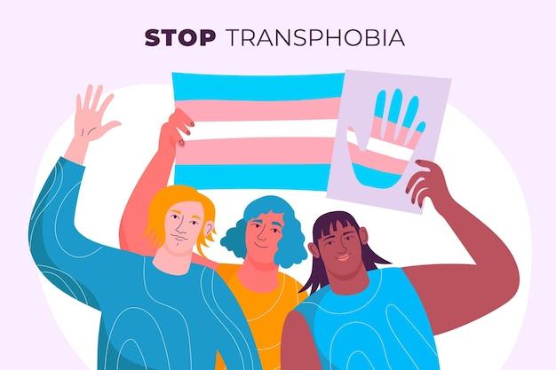 Handgezeichnetes stop-transphobie-konzept