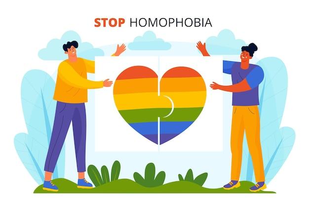 Handgezeichnetes stopp-homophobie-konzept