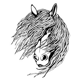 Handgezeichnetes süßes schwarz-weißes pferdeporträt. vektorillustration lokalisiert auf weiß.