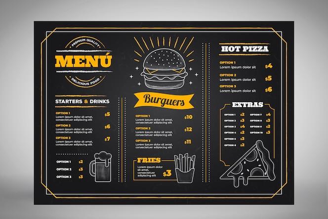 Handgezeichnetes tafelmenü für restaurant