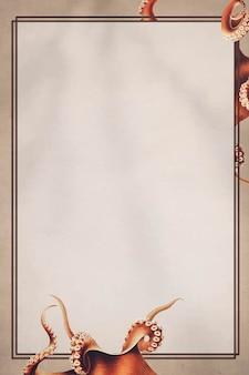 Handgezeichnetes tintenfischmuster auf braunem hintergrund