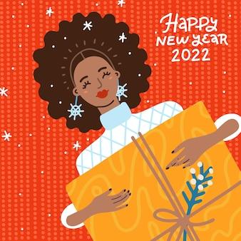 Handgezeichnetes trendiges porträt einer afroamerikanischen frau, die eine große geschenkbox in den händen hält, um ch...