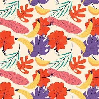 Handgezeichnetes tropisches sommermuster