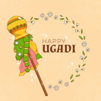 Handgezeichnetes ugadi design