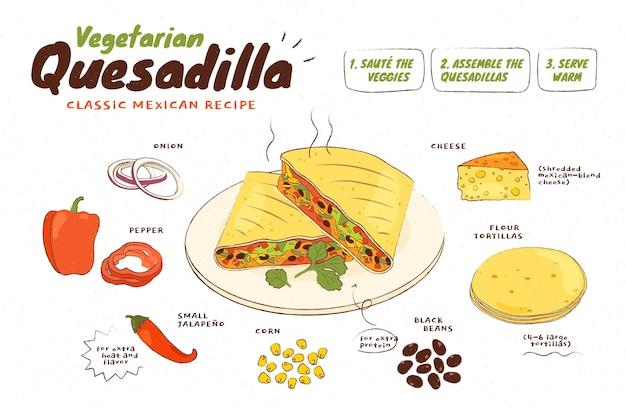 Handgezeichnetes vegetarisches rezept