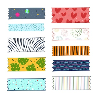 Handgezeichnetes washi tape collection design