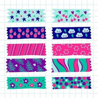 Handgezeichnetes washi tape pack