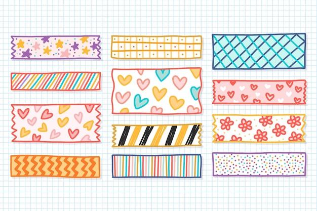 Handgezeichnetes washi tape set