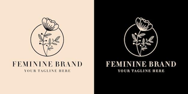 Handgezeichnetes weibliches und blumiges botanisches logo, geeignet für spa-hauthaut-haarschönheitsboutique und kosmetikunternehmen