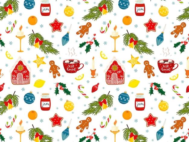 Handgezeichnetes weihnachten nahtloses muster mit lebkuchenmann-lutscher-kakao-kerzen-dekorationen