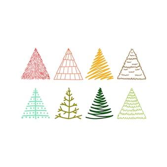 Handgezeichnetes weihnachtsbaum-gekritzel in mehrfarben