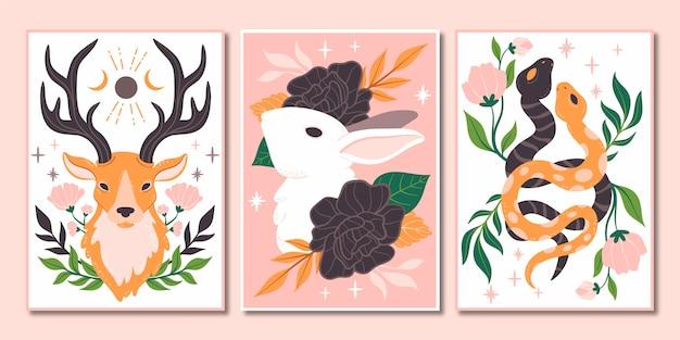 Handgezeichnetes wildtier-cover-set