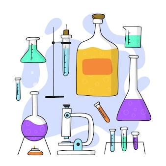 Handgezeichnetes wissenschaftliches labordesign
