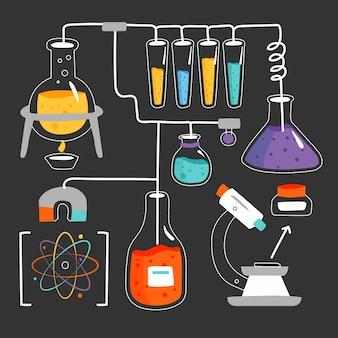 Handgezeichnetes wissenschaftslabor