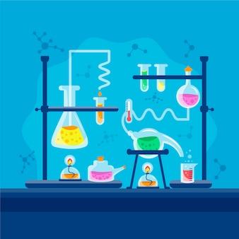 Handgezeichnetes wissenschaftslaborkonzept