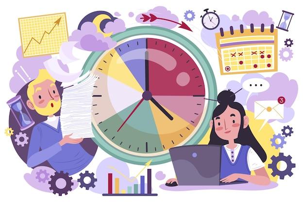 Handgezeichnetes zeitmanagementkonzept Kostenlosen Vektoren