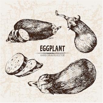 Handgezogene auberginen-kollektion